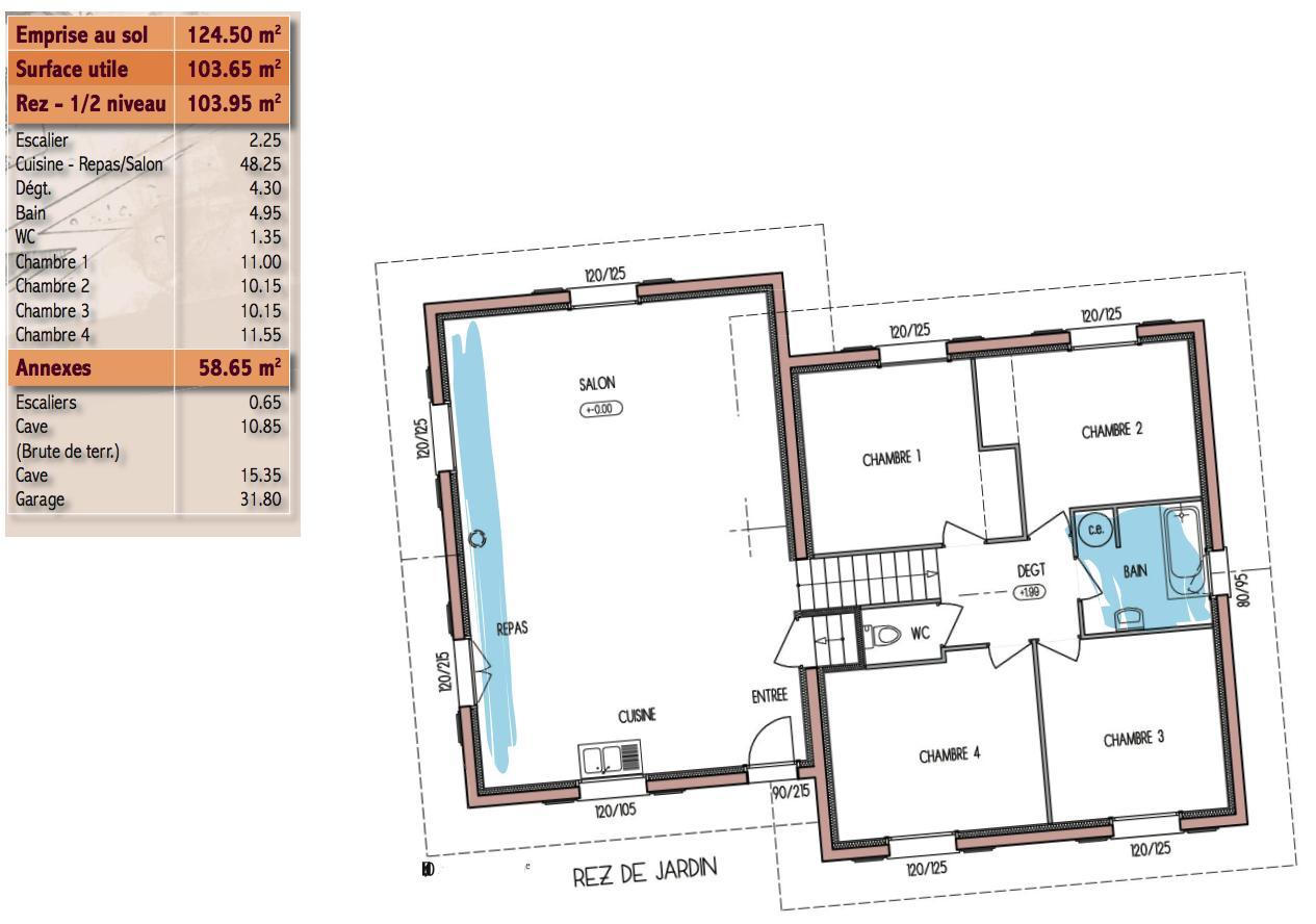 plan maison 1/2 niveau