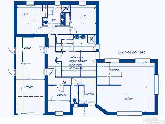 120m2 plain pied en l bbc parasismique 4 ch cuisine for Plan de maison de 120m2 avec garage