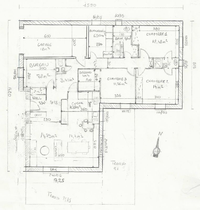 Plan maison plain pied 120m2 for Maison 120m2 plain pied