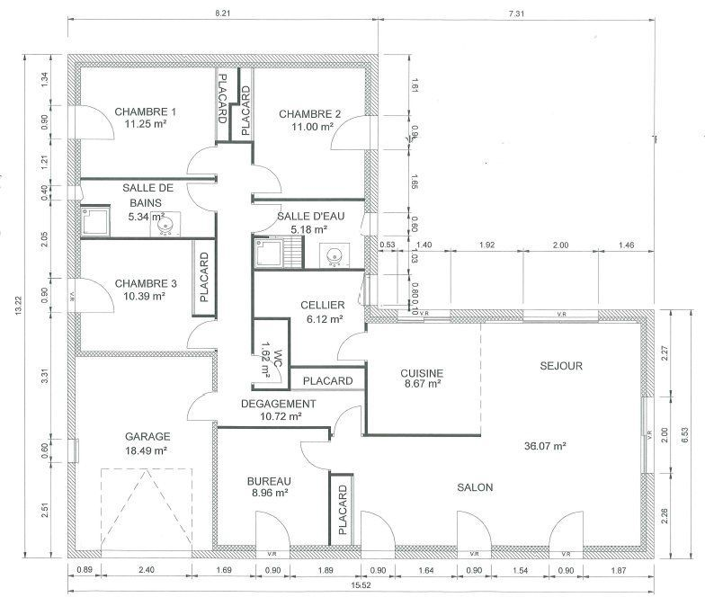 120m2 plain pied en l bbc parasismique 4 ch cuisine for Plan maison contemporaine bbc