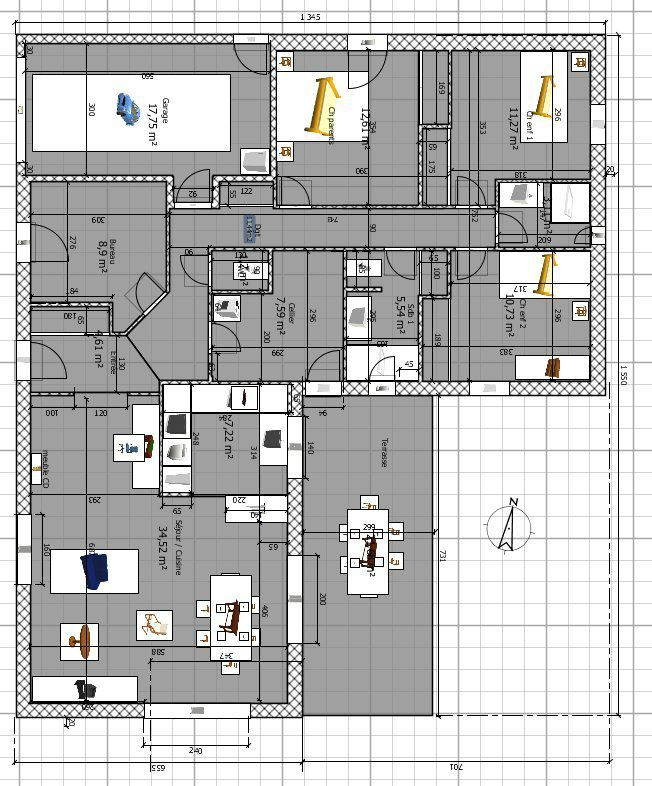 Gut bekannt Plan Maison 120m2. Latest Plan Maison Chambres Plain Pied Gratuit  IX59