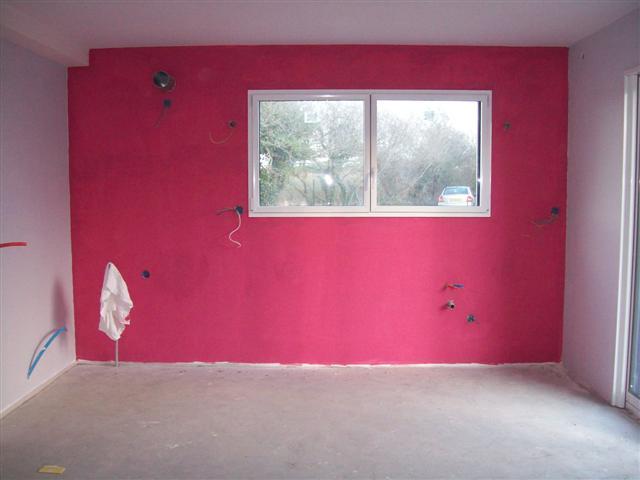 Pose du placo avancement de la semaine derni re toujours le placo les bandes du placo for Peinture rose fushia