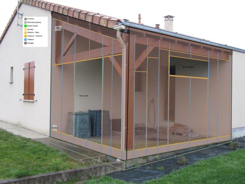 extension ossature bois pour fermer un pr au structure ferme bois 6 messages. Black Bedroom Furniture Sets. Home Design Ideas