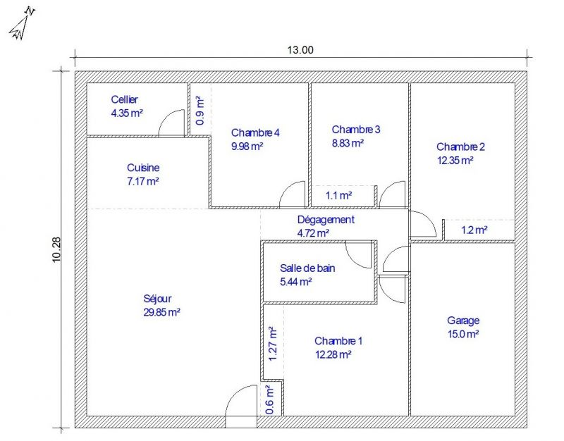 Plan De Maison De Plain Pied 100m 15m De Garage 300 Messages