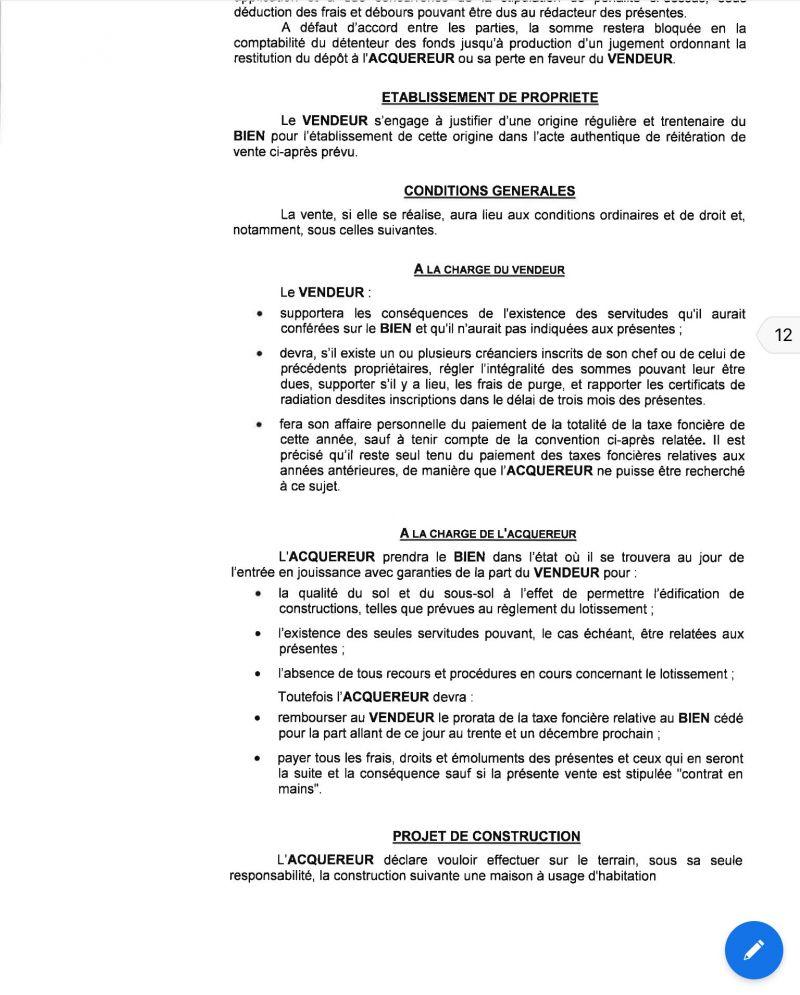 Achat De Terrain Compromis De Vente Clause Resolu 23 Messages