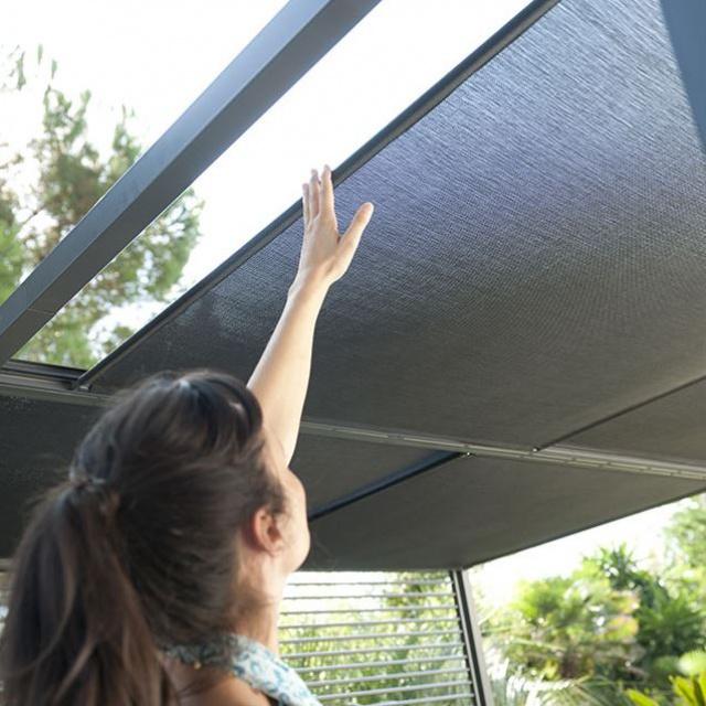 tonnelle pour terrasse en alu gris anthracite ploudalmezeau finistere. Black Bedroom Furniture Sets. Home Design Ideas