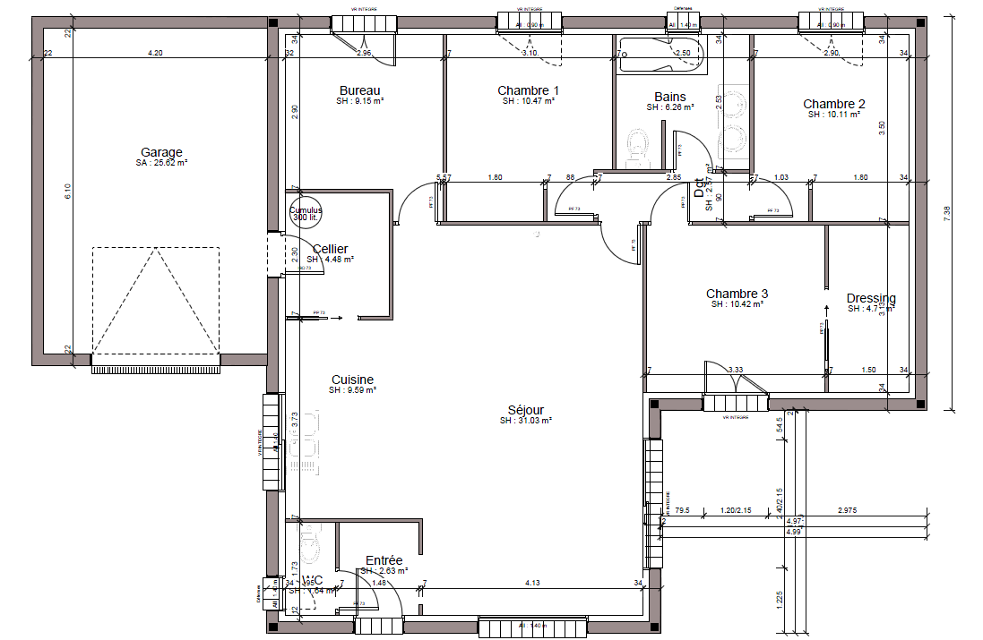 Plan interieur de maison en l for Plan interieur maison