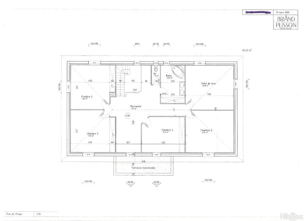 plan de maison facade 7m