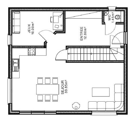 Plan maison etage entree sud for Plan maison sud