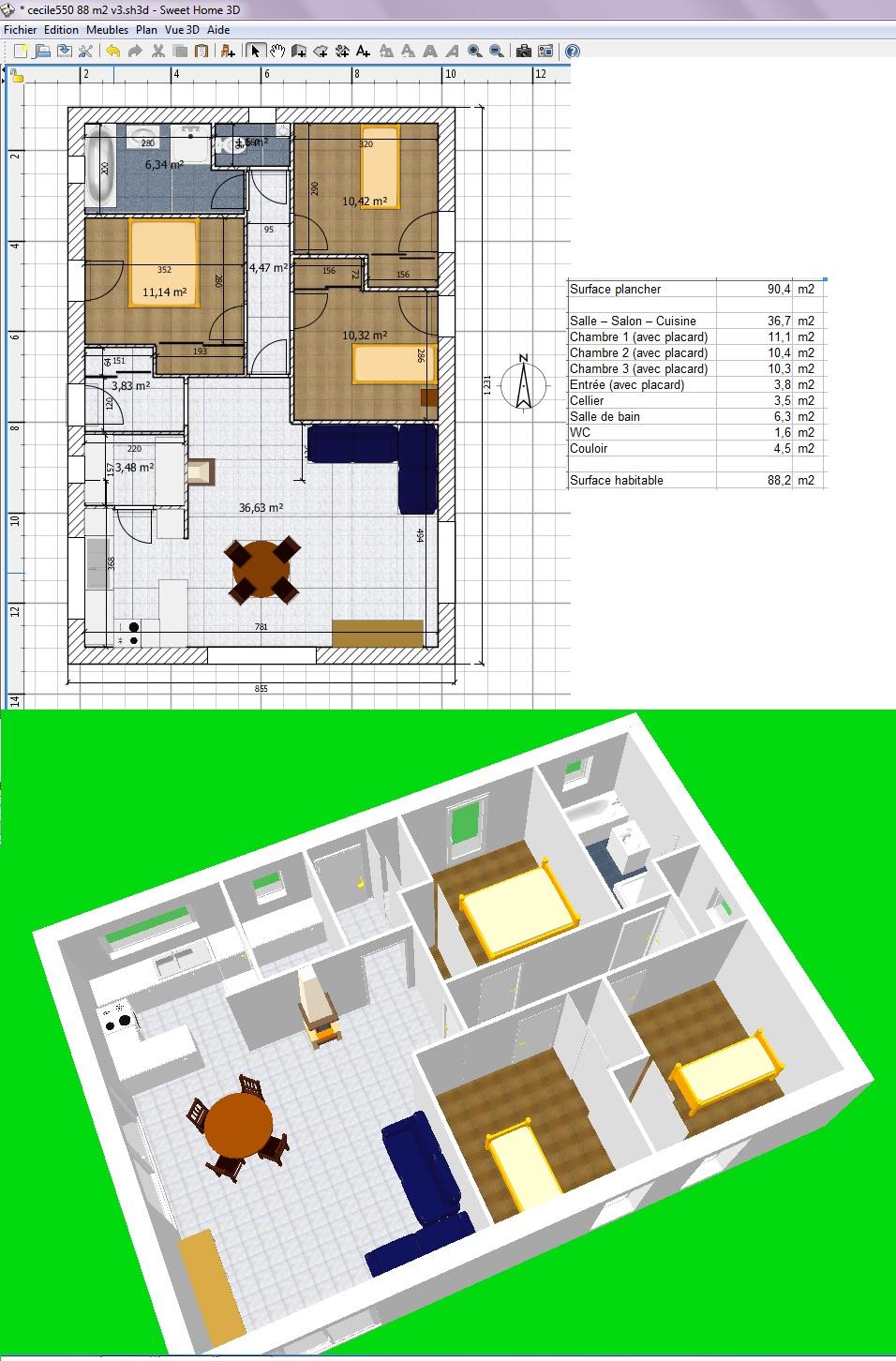 Plan de maison 2 chambres salon cuisine excellent maison for Plan de maison 2 chambres salon cuisine douche