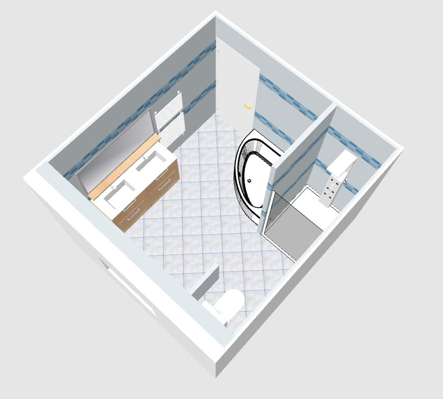 Am nagement salle de bain de 9m2 3x3 r solu 34 for Plan amenagement salle de bain