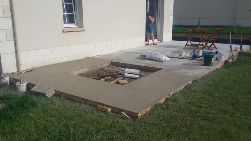 Coffrage du wc suspendu r alisation du b ton de la - Poser du carrelage sur une terrasse en beton ...