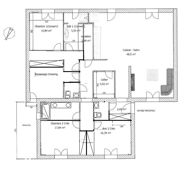 deux chambres sensiblement identiques pour vos filles une belle salle de douche avec fentre jespre une belle chambre en suite pour vous - Plan Agrandissement Maison Plain Pied