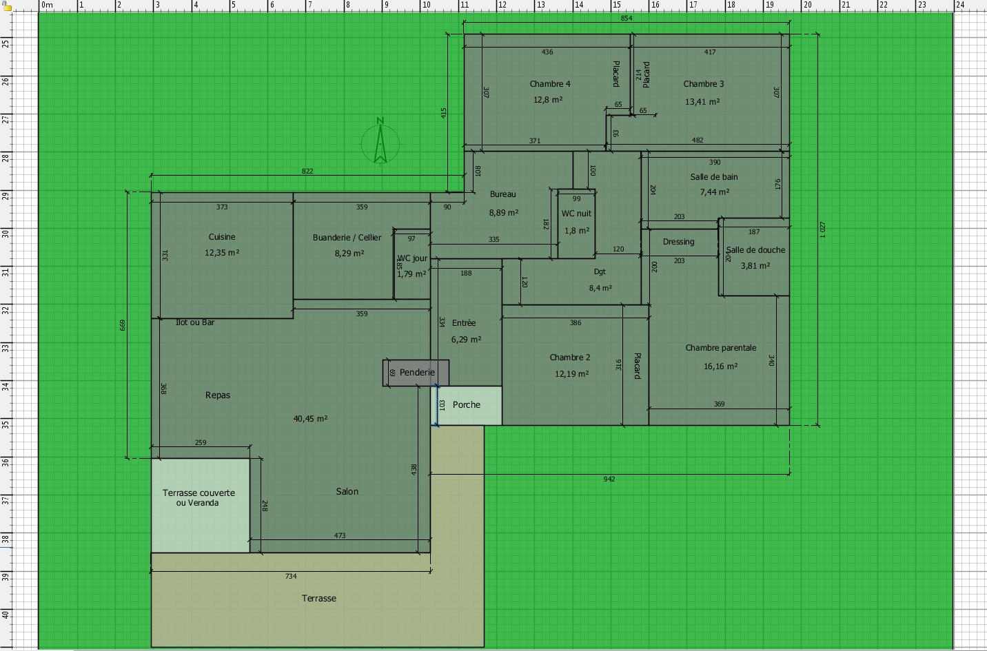 plan maison plain pied 160m2