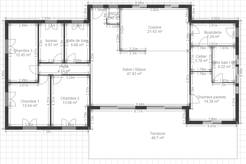 Plan maison 4 chambres 130m2 for Plan maison mca