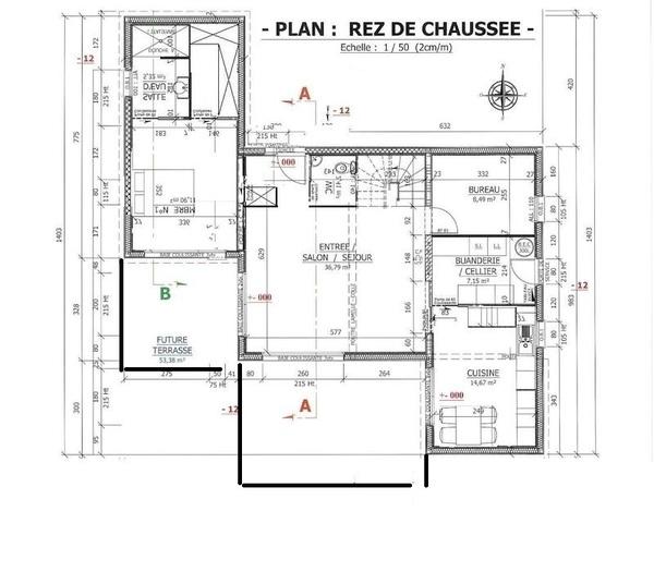 plan maison r+1 150m2