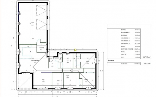 Plan maison plain pied en l 120m2 for Plan maison en t