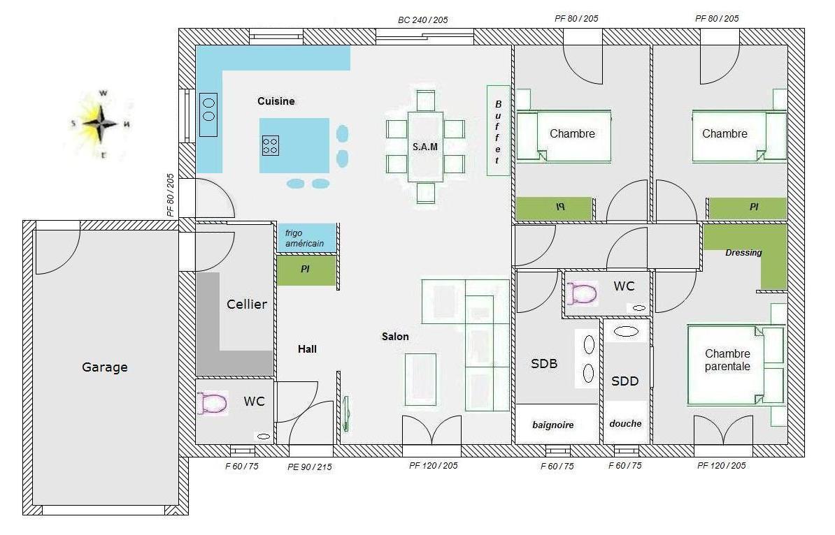 avis sur mon plan 95 m2 plein pied 84 messages. Black Bedroom Furniture Sets. Home Design Ideas