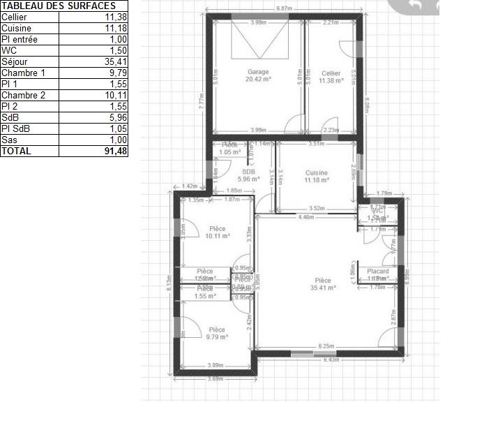 M de surface de plancher et deux chambres pour sr je for Cuisine 11m2