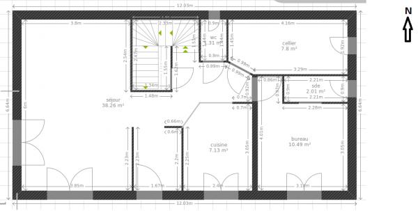 plan maison 115 m2