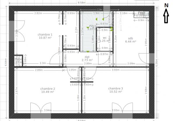 plan maison etage 115m2