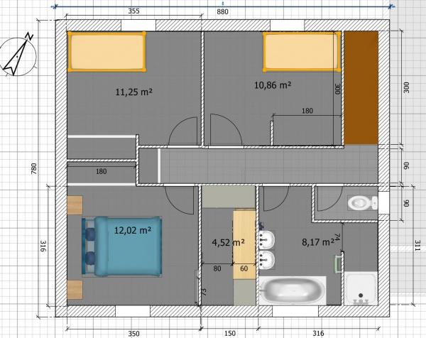 plan de maison à étage 120m2