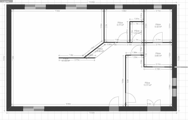 plan maison 1 chambre rdc