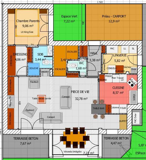 plan de maison orientee sud