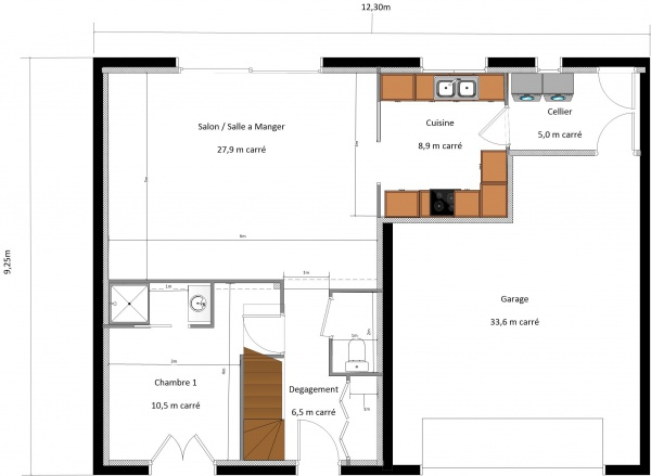 plan maison 1 façade