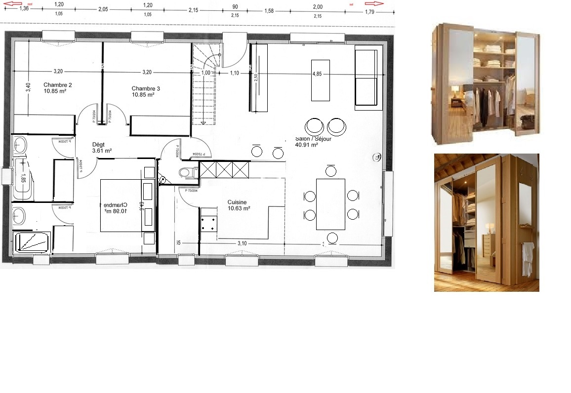 Avis plan maison 101m2 23 messages page 2 for Plan dressing chambre