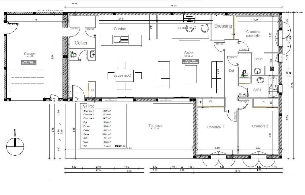 avis-plan de maison de 118m² pour aménagement salle de bain - 36 ... - Idee De Plan De Maison