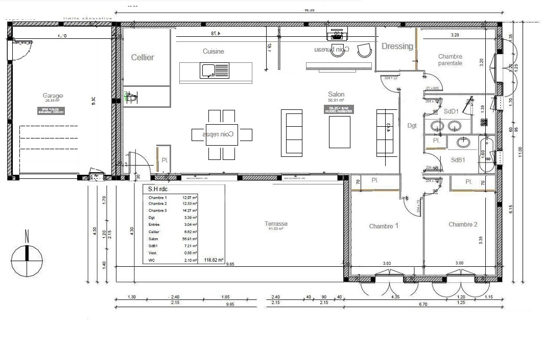 Avis plan de maison de 118m pour am nagement salle de bain 36 messages for Plan amenagement maison