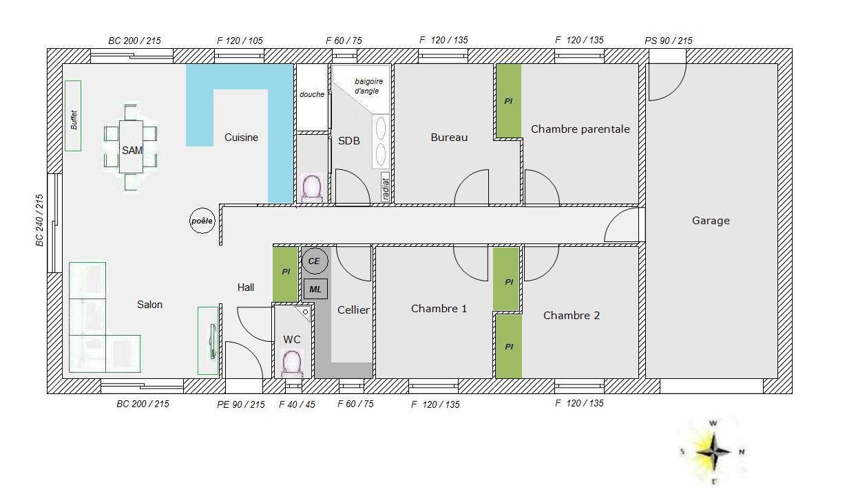 Plan maison 100m2 4 chambres exposition plan maison - Plan de maison 100m2 ...
