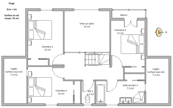 Plan de maison a etage 100m2 for Plan maison 100m2 2 etages