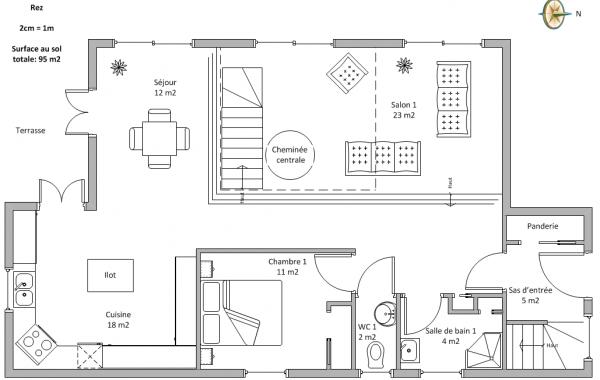 Avis plan maison 2 tages environ 100m2 par tage 23 for Maison 100m2 etage
