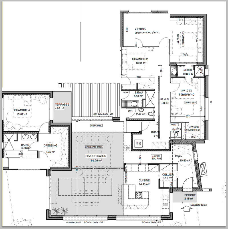 Plan de maison plain pied 200m2 for Plan maison moderne 200m2