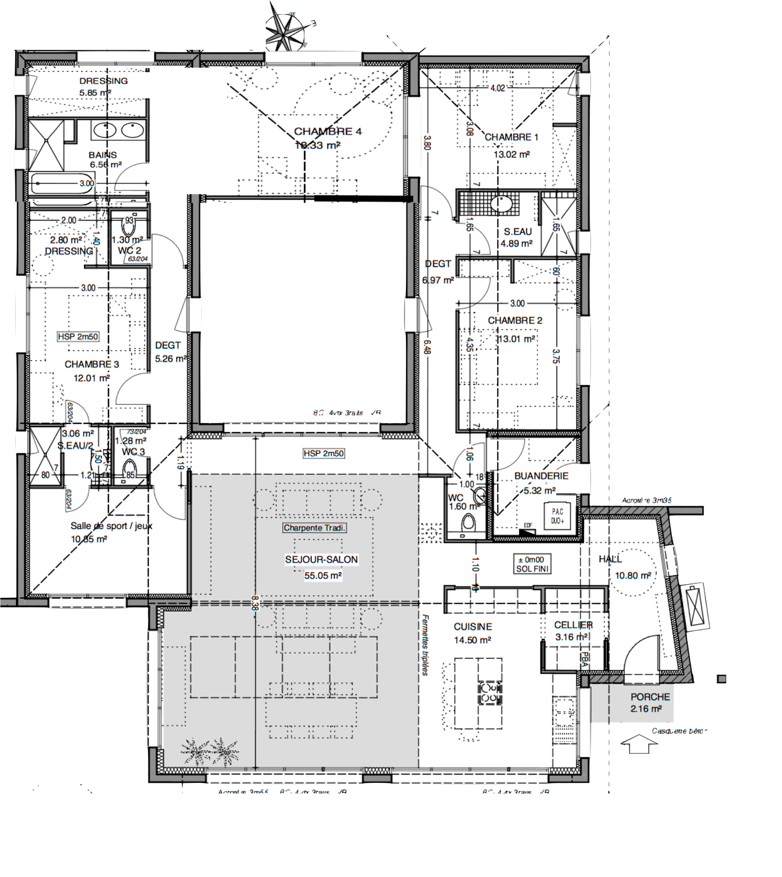 Plan de maison plain pied 200m2 for Plain pied plan