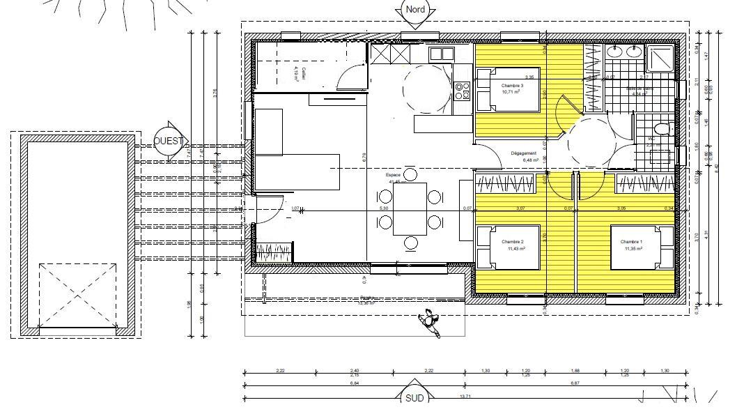 Haute Qualité Ou Garder La Baie L O Elle Est Et Inverser Salle Et Salon With Plan Maison  Sans Couloir