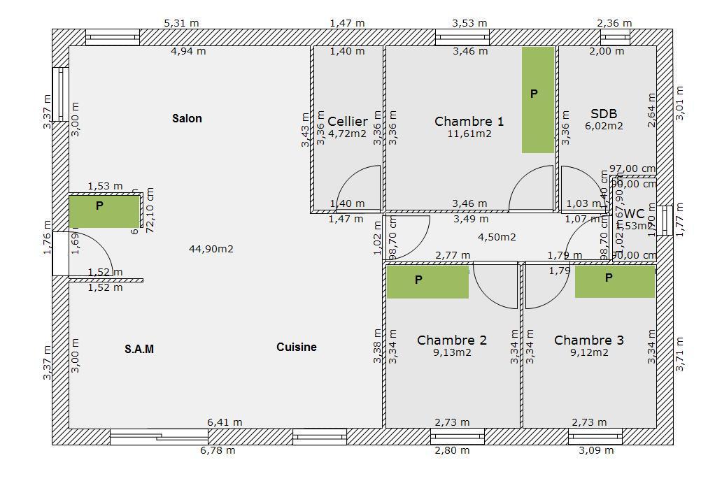 votre avis sur mon plan de maison 88 m 37 messages. Black Bedroom Furniture Sets. Home Design Ideas