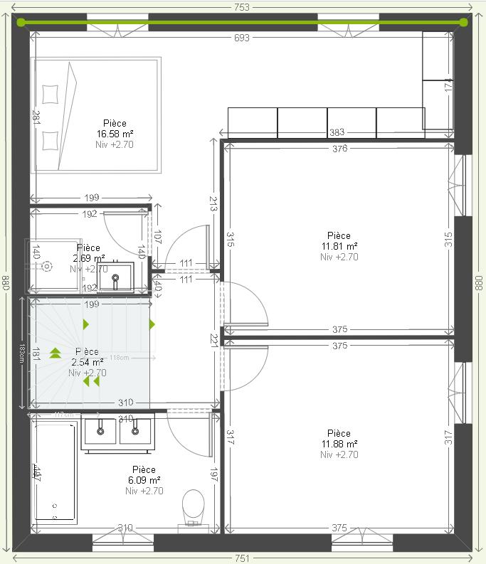 plan de maison 105m2