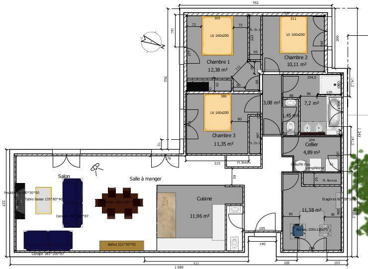 Avis plan de maison 95m questions 34 messages page 2 for Plan entree maison