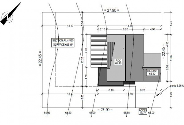 Emplacement de la maison sur le terrain with plan de - Plan de maison bretagne ...