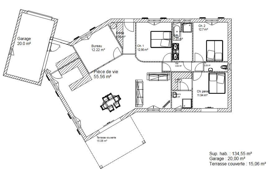 Plan De Maison Plain Pied En V Avec Garage Ho18 | Montrealeast
