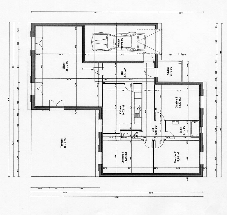 Plan maison facade 8m for Plan de maison facade