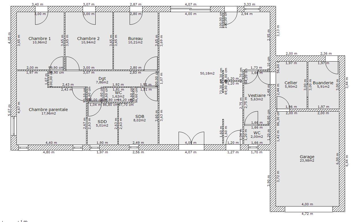 Plan de maison plain pied 120m2 simple plan maison avec - Plan maison plain pied 120m2 ...