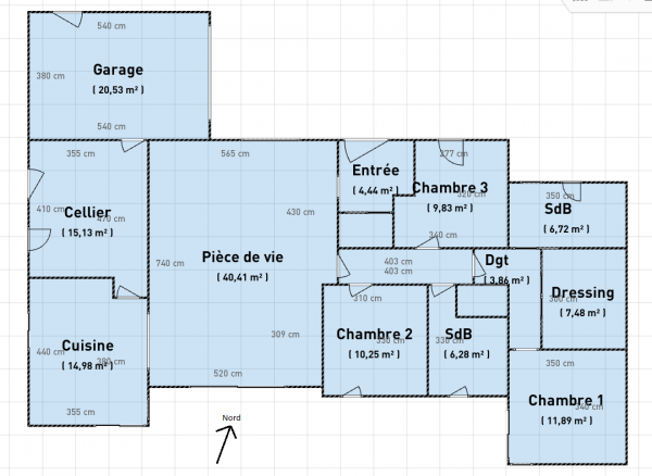 Avis plan maison de plain pied 140m 16 messages for Taille dressing suite parentale