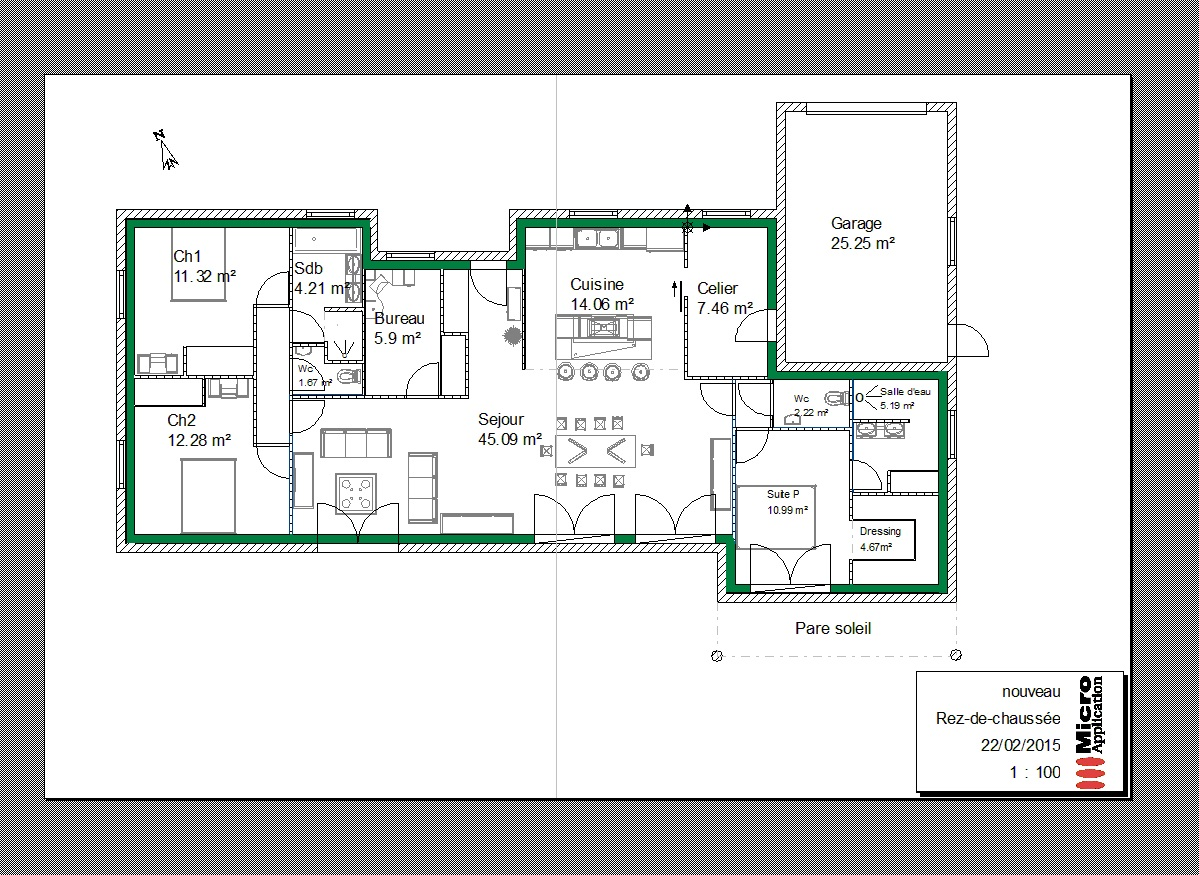 Plan maison plain pied entree nord for Plan de garage