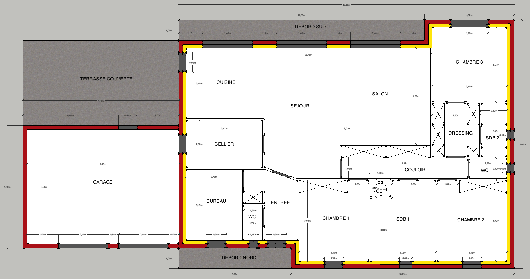 Plan maison en l 150m2 for Plan maison plain pied 85m2