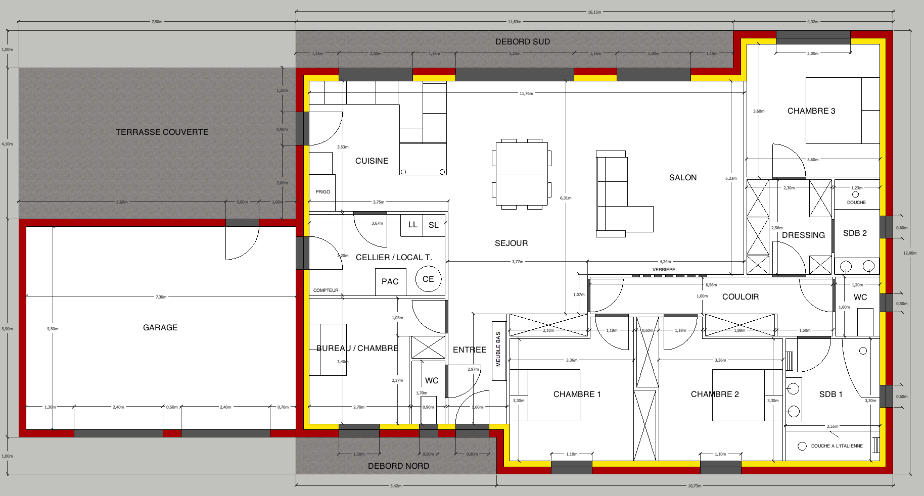 Plan maison plain pied 150m2 for Plan maison en t