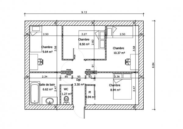 Avis plan maison plain pied 36 messages page 2 - Idee plan maison en longueur ...
